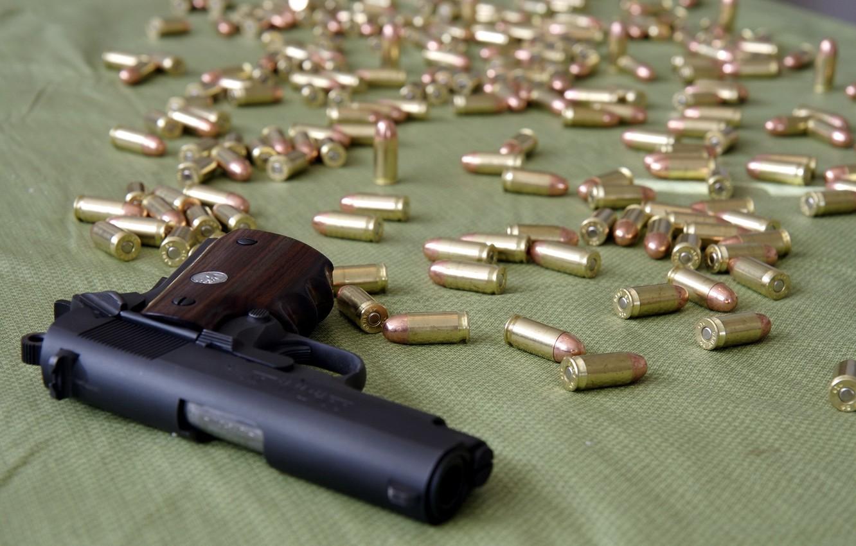 Photo wallpaper gun, weapons, cartridges, 1911 Colt Officer's Pistol