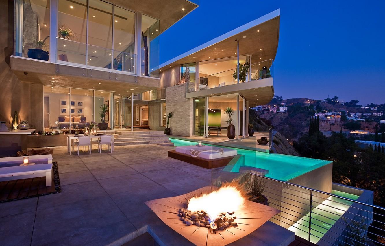 Photo wallpaper house, home, villa, pool., exterior