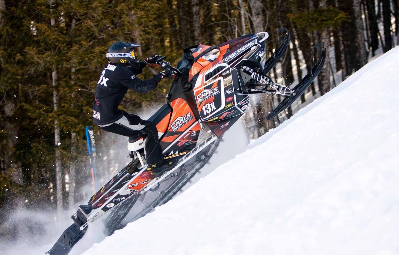 Photo wallpaper jump, Snow, Snow, snowmobile, the rise, Polaris, snowmobile