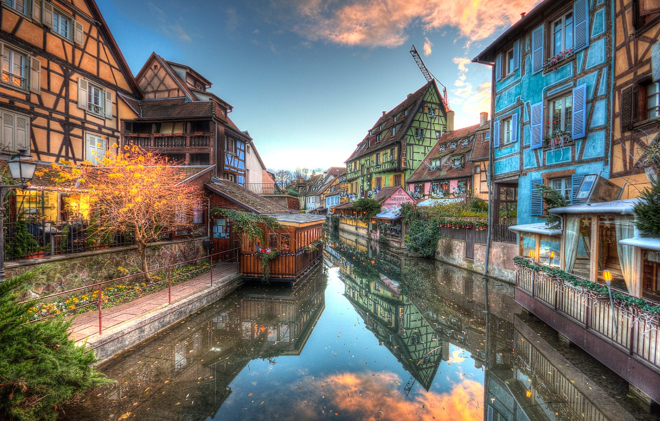 Photo wallpaper France, home, hdr, channel, Colmar