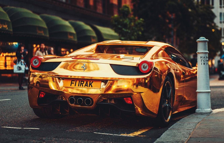 Photo wallpaper Ferrari, Ass, Italy, Ferrari, Gold, 458, Supercar, Italia, Supercar, Gold, Rear