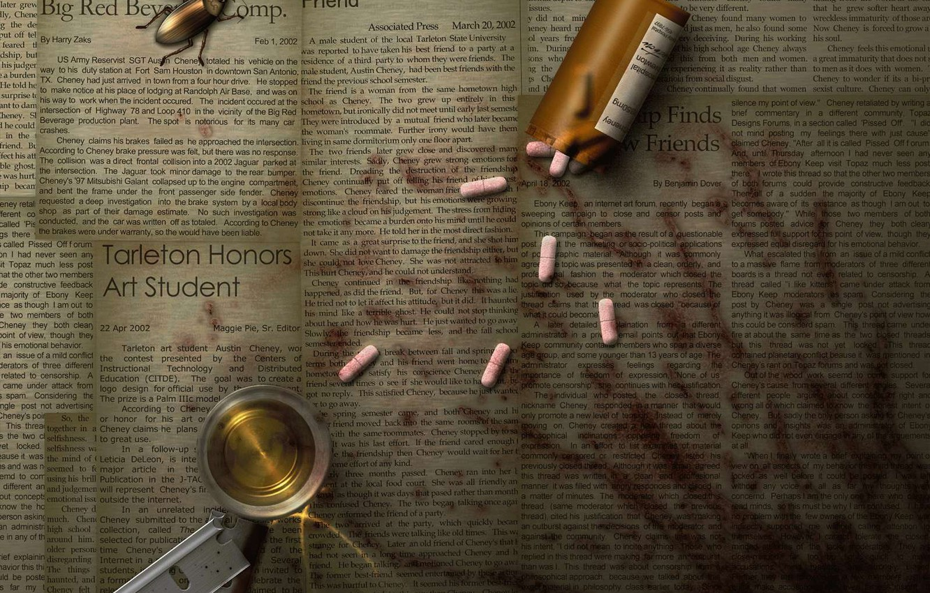 Photo wallpaper beetle, blade, newspaper, pills, traces of blood