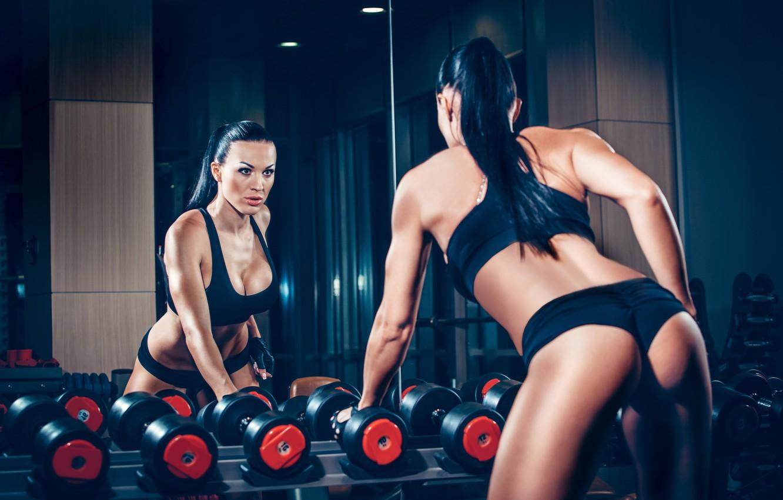 Photo wallpaper brunette, mirror, workout, fitness