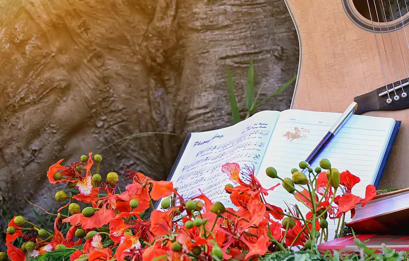 Photo wallpaper flowers, notes, music, guitar