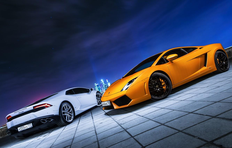 Photo wallpaper Lamborghini, City, Gallardo, Car, Moscow, Photo, Huracan, Ligth, Nigth