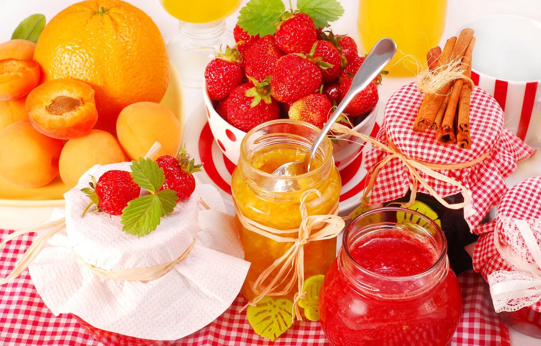 Photo wallpaper orange, strawberry, banks, cinnamon, apricot, jam, orange, strawberry, jam, jam, cinnamon, apricot