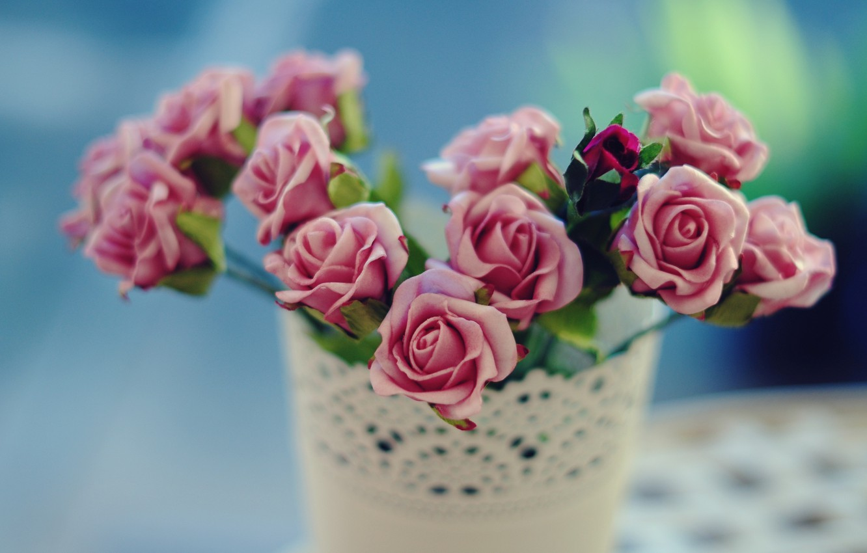 Photo wallpaper flowers, background, widescreen, Wallpaper, pink, rose, roses, blur, vase, wallpaper, flowers, widescreen, background, full screen, …