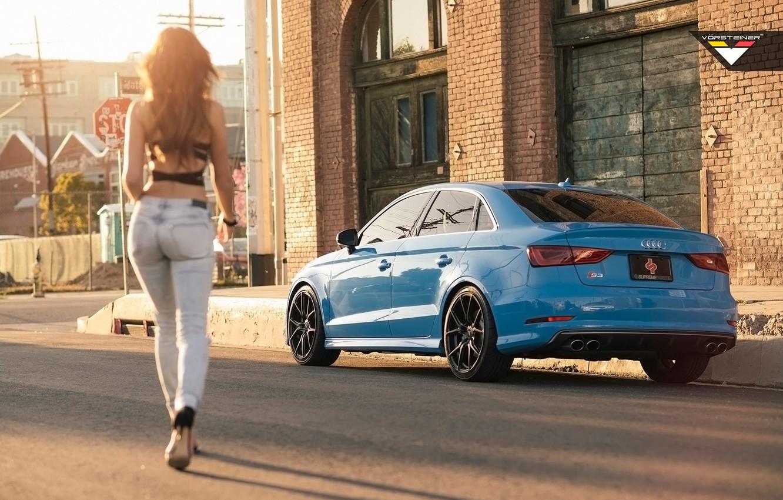 Photo wallpaper Audi, Girl, Vorsteiner, Audi Cars, Audi and Girl, Car and Girl, Audi S3, Vorsteiner Audi …