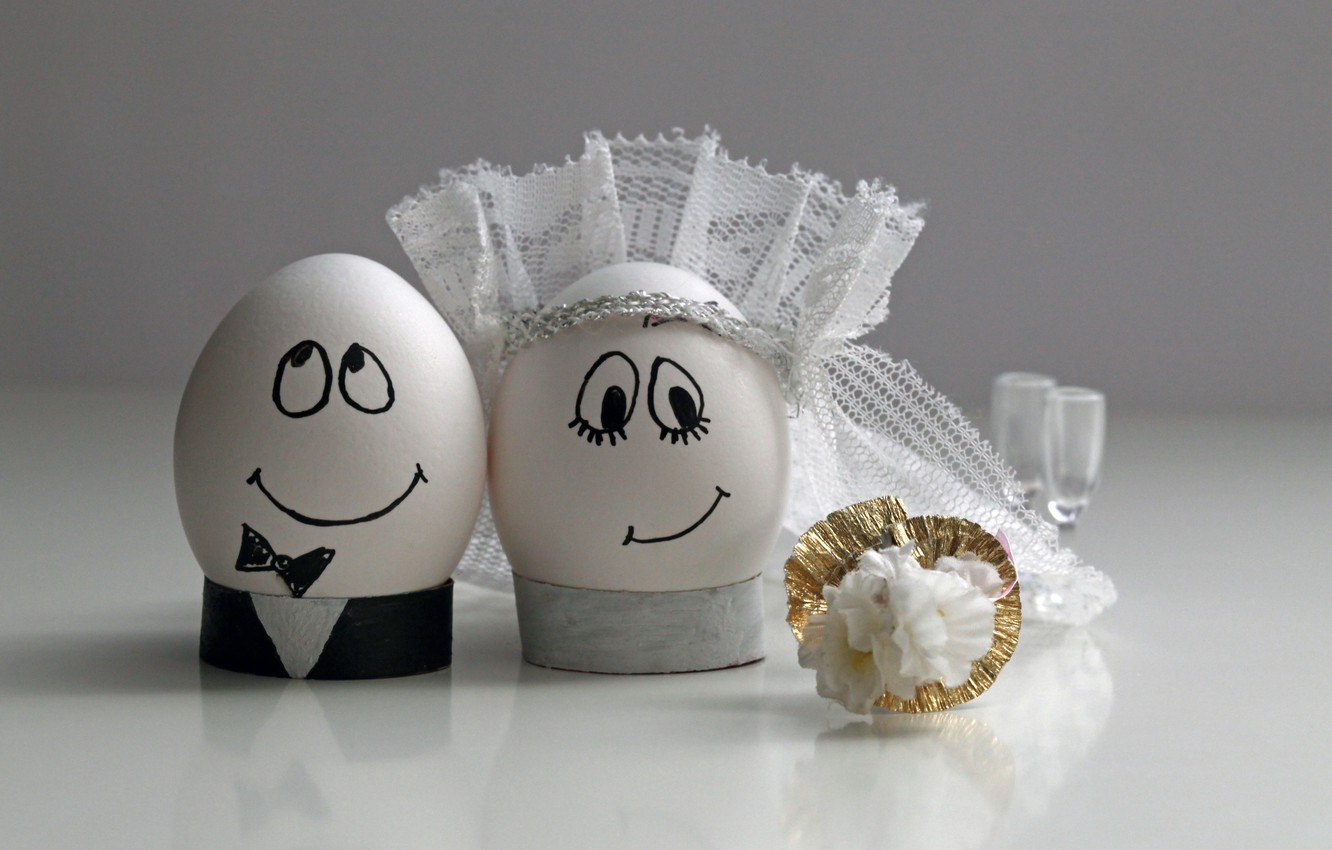 Photo wallpaper happiness, eggs, bouquet, veil, wedding, the bride and groom
