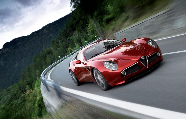 Photo wallpaper road, mountains, red, speed, Alfa Romeo 8С