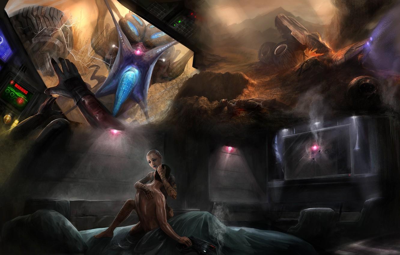 Photo wallpaper dreams, gun, bed, mass effect 2, Shepard, cabin, nightmares