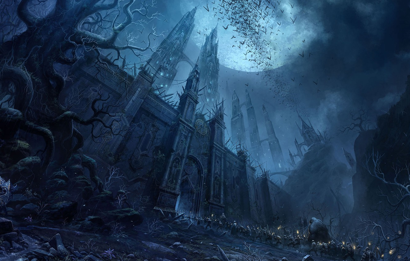Photo wallpaper castle, the moon, the darkness, warrior, army, prisoners