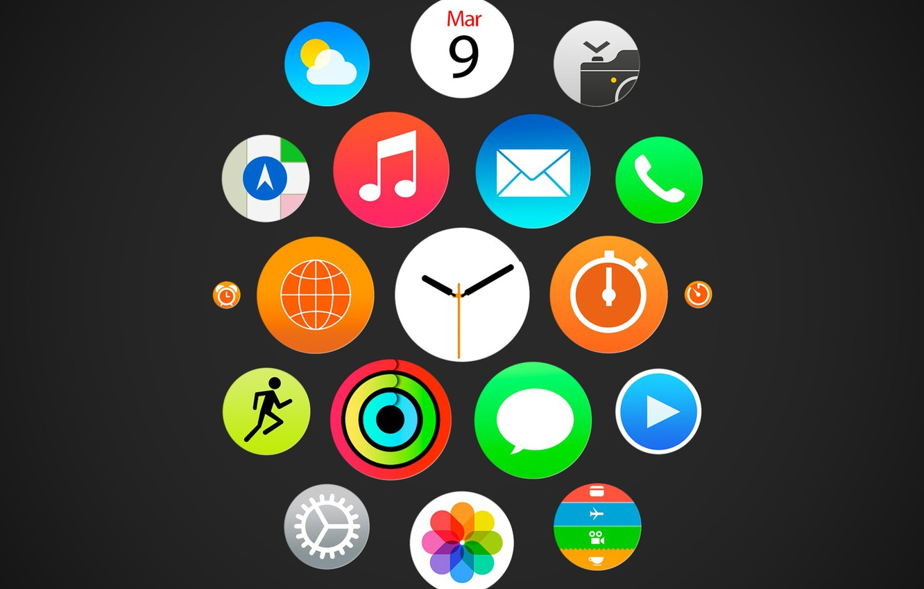 Photo wallpaper watch, menu, icons, color, EPL, ios, apple watch