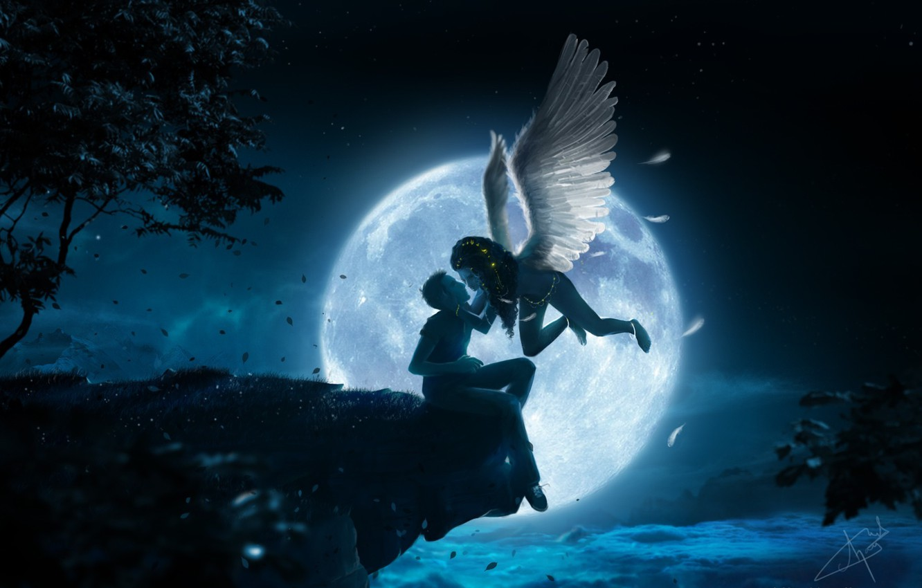 Photo wallpaper leaves, girl, clouds, night, open, tree, the moon, height, wings, kiss, angel, art, guy