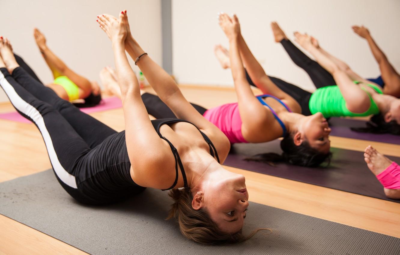 Photo wallpaper women, yoga, class