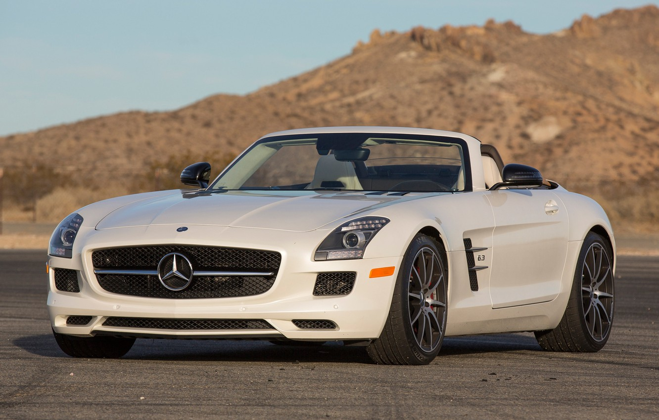 Photo wallpaper Roadster, Mercedes-Benz, Roadster, car, AMG, SLS, the front