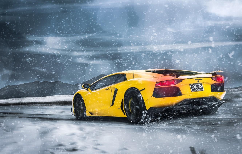Photo wallpaper Lamborghini, Clouds, Snow, Yellow, LP700-4, Aventador, Supercars, Mountains, Wheels, Rear, ADV.1
