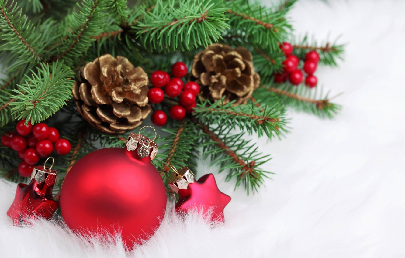 Photo wallpaper stars, red, berries, holiday, tree, new year, ball, Christmas, branch, christmas, new year, bumps, Christmas …