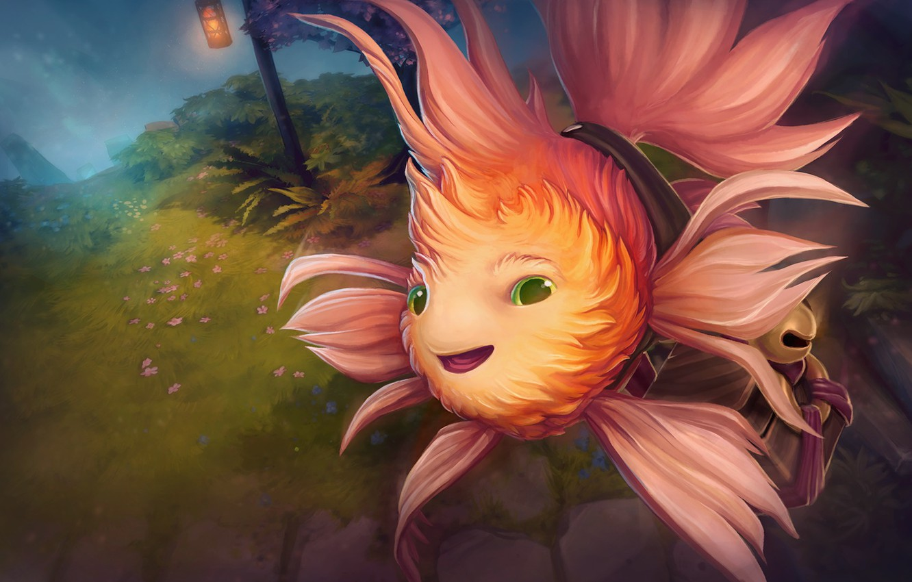 Photo wallpaper fish, art, Dota 2, courier