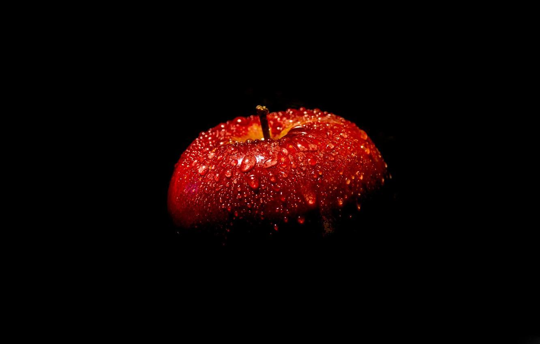Photo wallpaper red, Apple, black background
