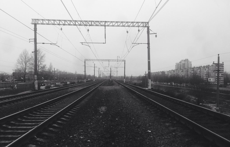 Photo wallpaper rails, railroad, Saint Petersburg