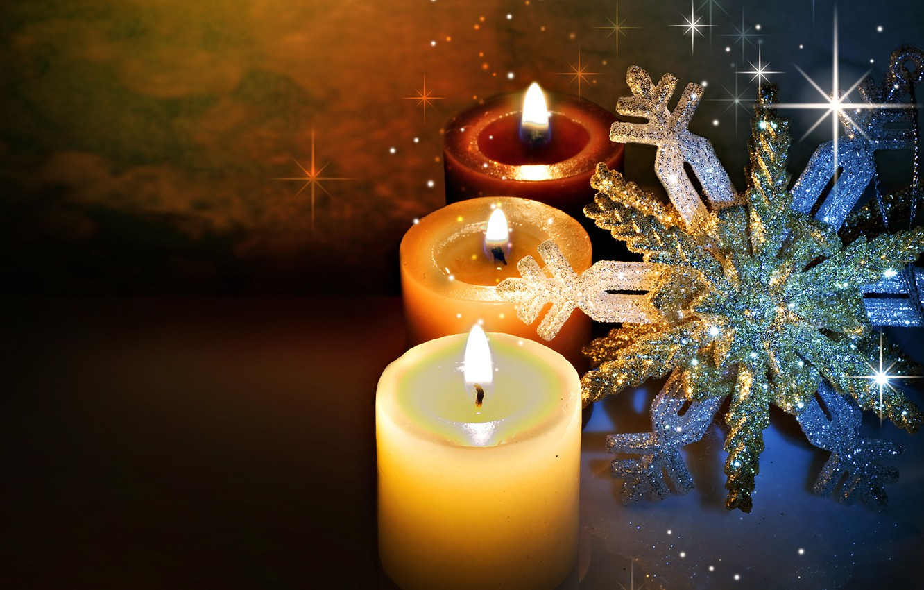 Photo wallpaper winter, light, snowflakes, glare, fire, holiday, the evening, candles