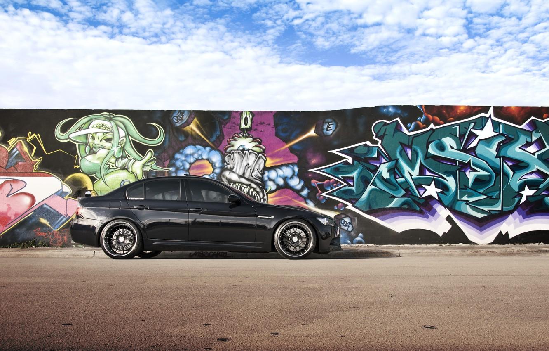 Photo wallpaper the sky, clouds, black, graffiti, BMW, BMW, black, E90