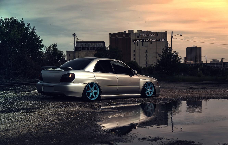 Photo wallpaper The sky, Auto, Subaru, Impreza, Puddle, WRX, Car, STI, Subaru, Impreza, Stance, Silver, Works
