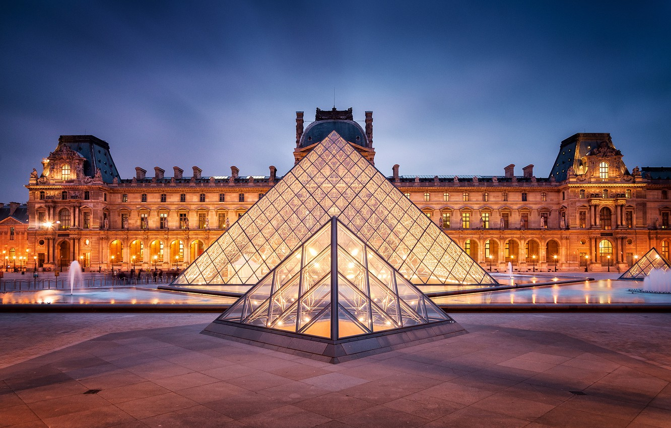 Photo wallpaper the city, France, Paris, the evening, The Louvre, lighting, backlight, area, pyramid, fountain, Paris, Museum, …