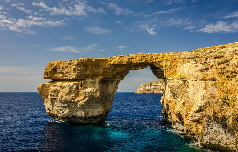 Photo wallpaper sea, the sky, rock, island, arch, Malta, Gozo