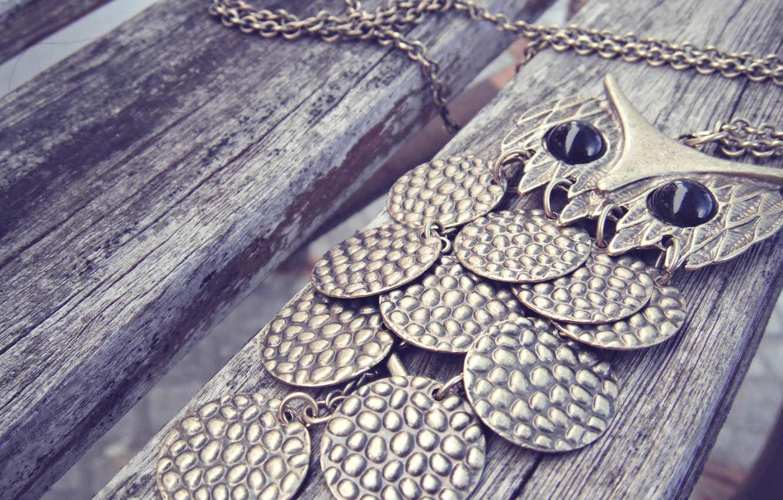 Photo wallpaper owl, chain, suspension