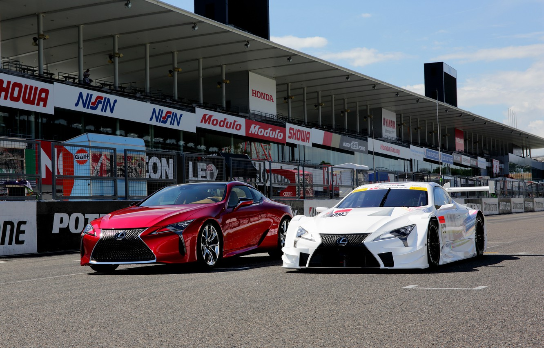 Photo wallpaper auto, Lexus, red, white, cars, Lexus, two, track