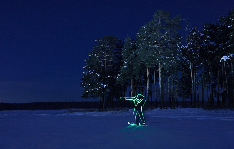 Photo wallpaper winter, forest, night, silhouette, Olympics, biathlon