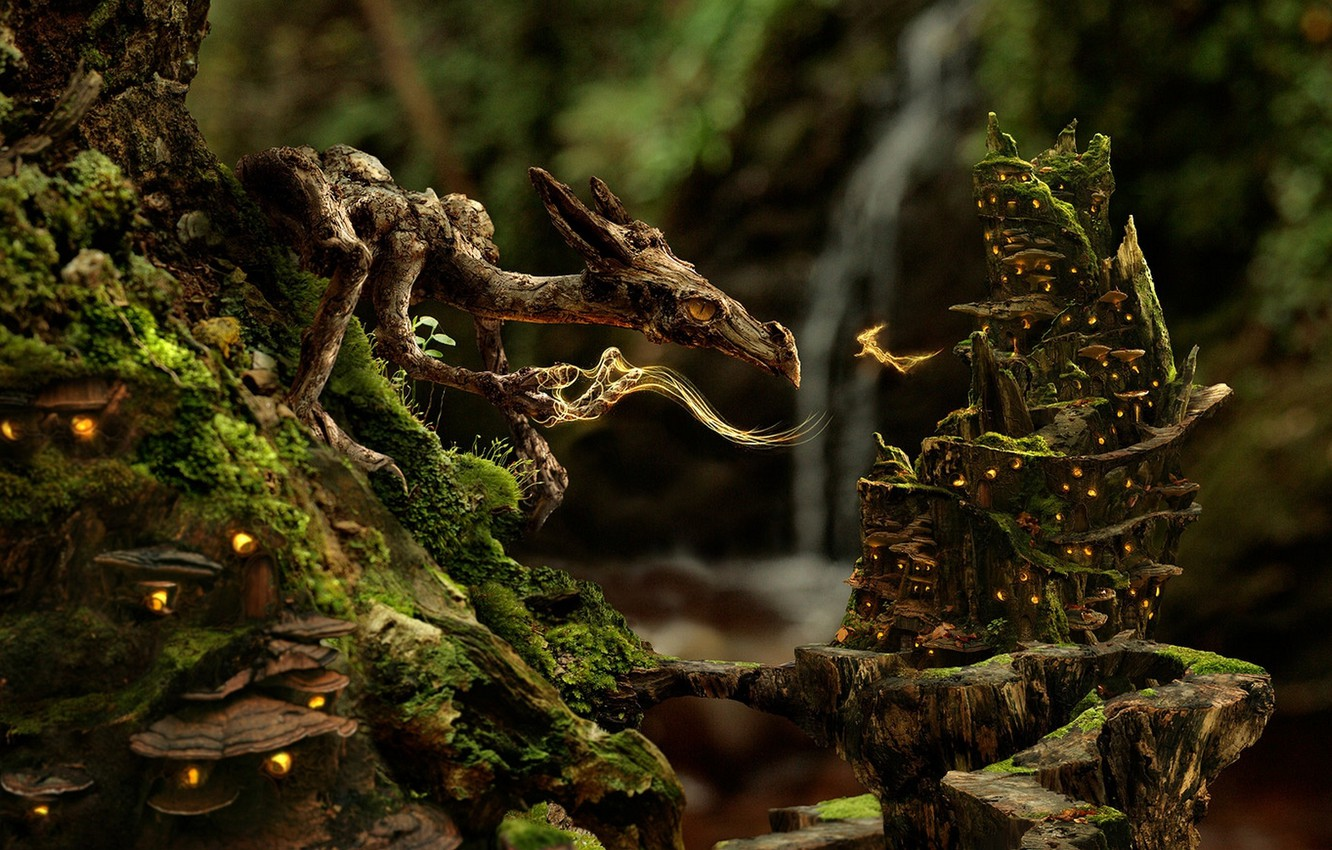 Photo wallpaper forest, dragon, fairy