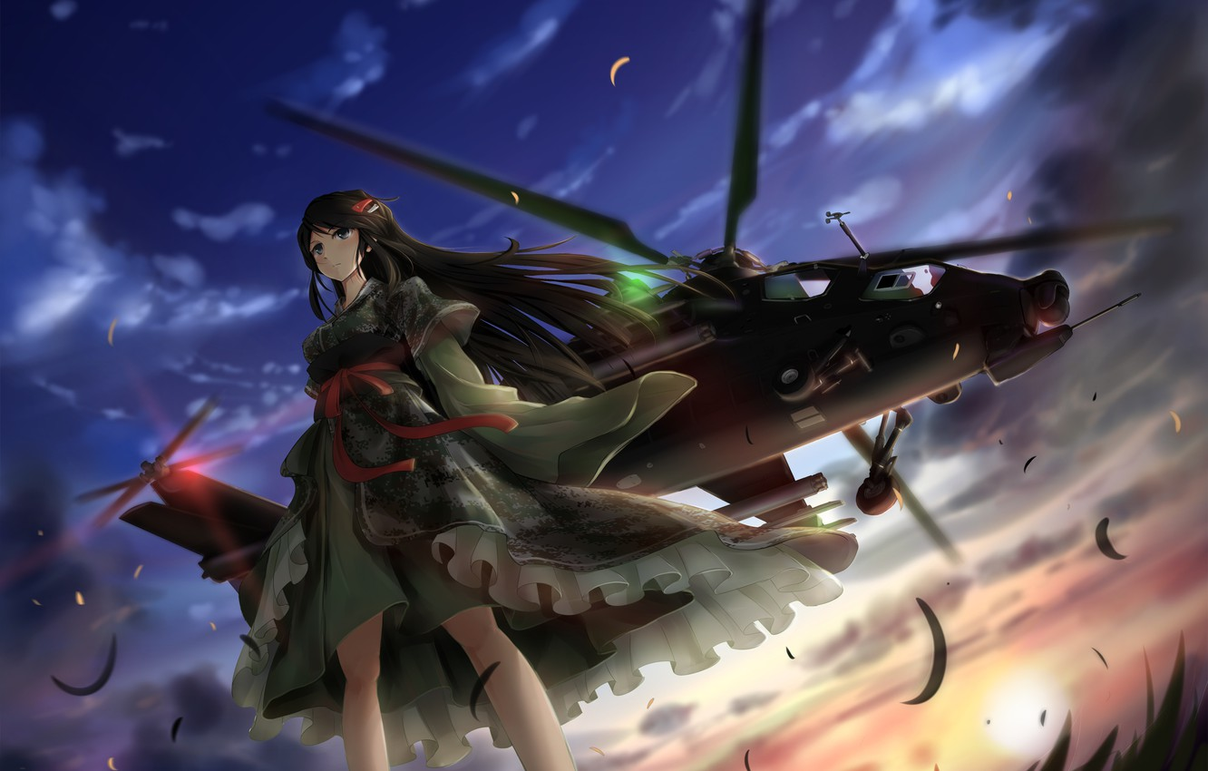 Photo wallpaper the sky, grass, look, girl, the sun, clouds, brunette, helicopter, kimono, is, art, digital camo, …