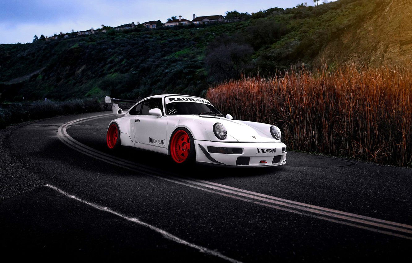 Photo wallpaper Porsche, Car, Sun, White, Road, 993, RWB, Hoonigan