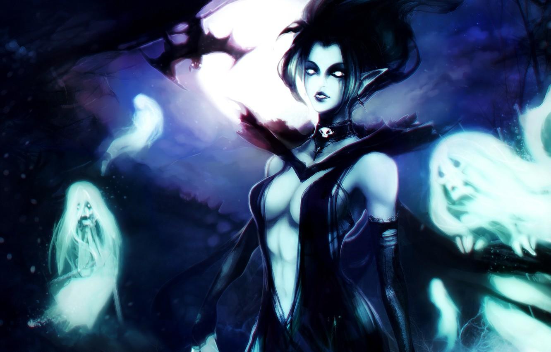 Wallpaper Girl Night The Moon Art Bat Ghosts Soul Dota 2