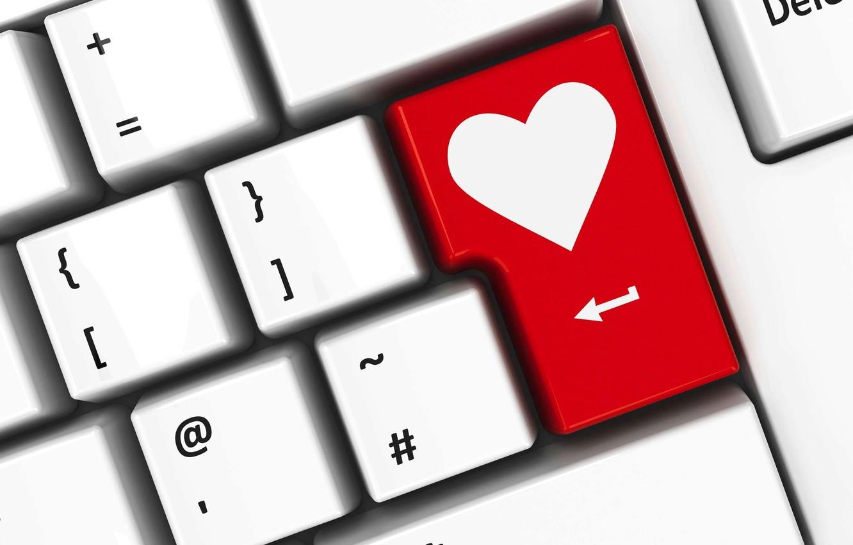 Photo wallpaper love, heart, keyboard, love, heart, keyboard