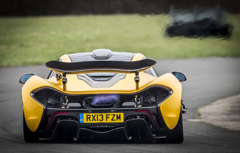 Photo wallpaper McLaren, Yellow, Machine, McLaren, Exhaust, Flame, Car, Supercar, Yellow, Supercar