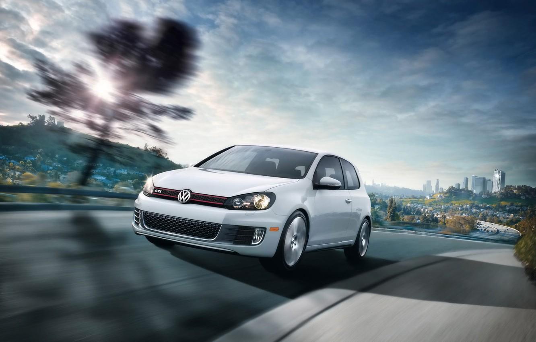Photo wallpaper white, speed, Volkswagen, Golf VI GTI