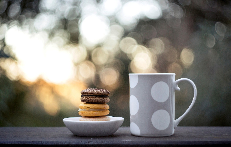 Photo wallpaper food, cookies, mug, Cup, sweets, bokeh, macaron