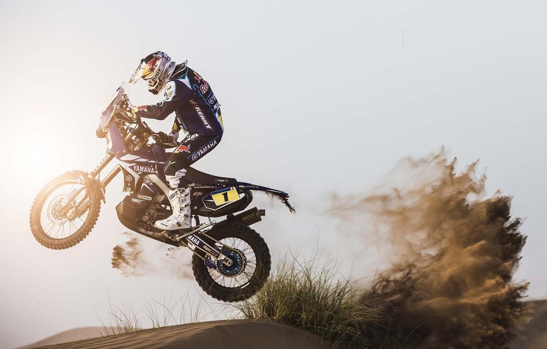 Photo wallpaper The sun, Sand, Sport, Speed, Day, Motorcycle, Racer, Moto, Yamaha, Rally, Dakar, Side view, Dune