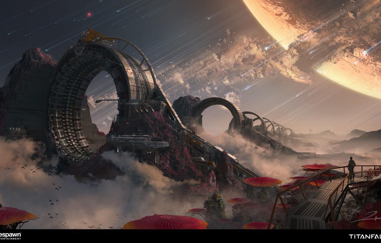 Photo wallpaper landscape, fiction, planet, art, titanfall 2, space warp machine