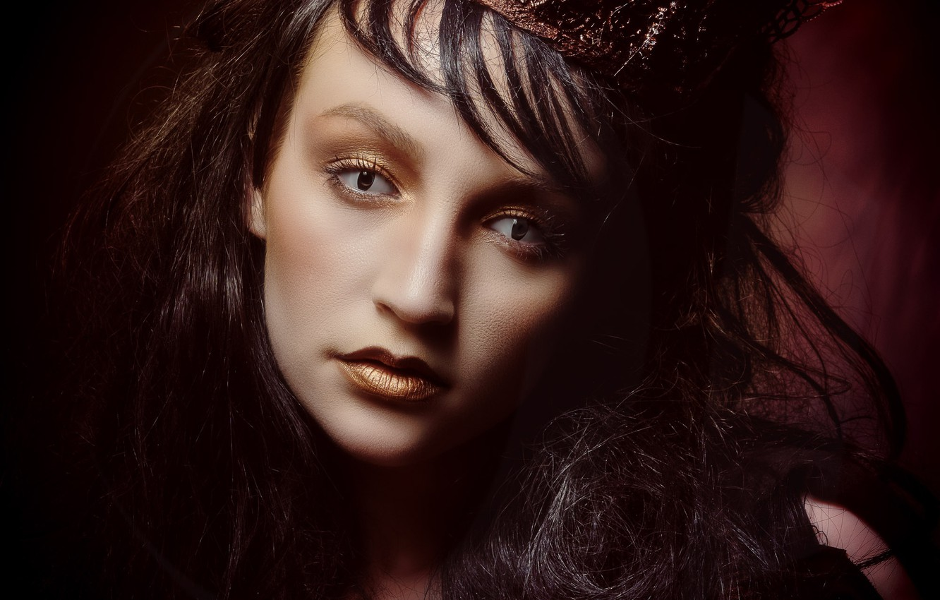 Photo wallpaper eyes, look, girl, face, style, portrait, crown, makeup