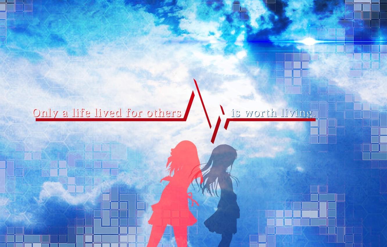Wallpaper Blue Red Girls Anime Angel Beats Angel Beats