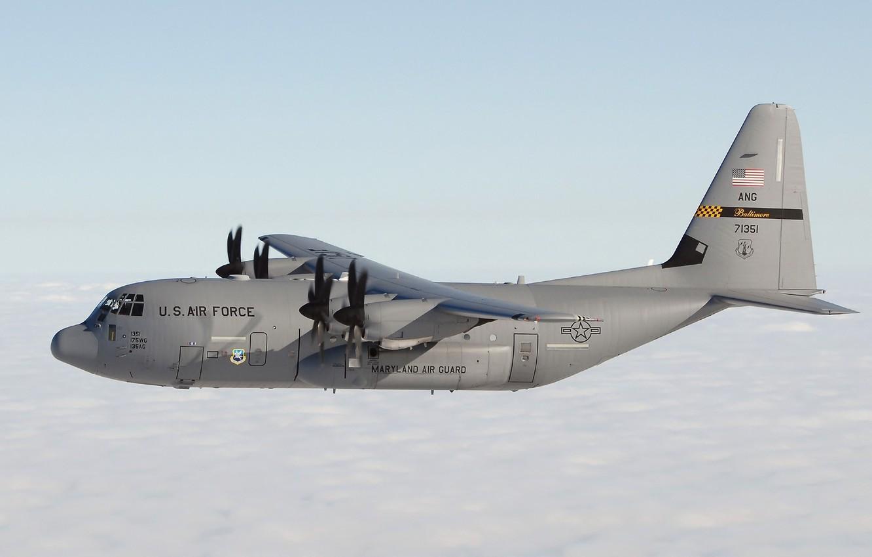 Photo wallpaper clouds, USA, the plane, flies, Lockheed, Hercules, military transport, Hercules, range, Lockheed, C-130, medium and …