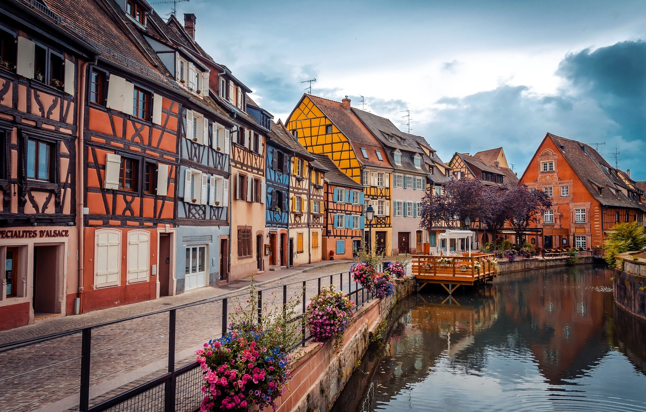 Photo wallpaper trees, flowers, France, home, Colmar, water