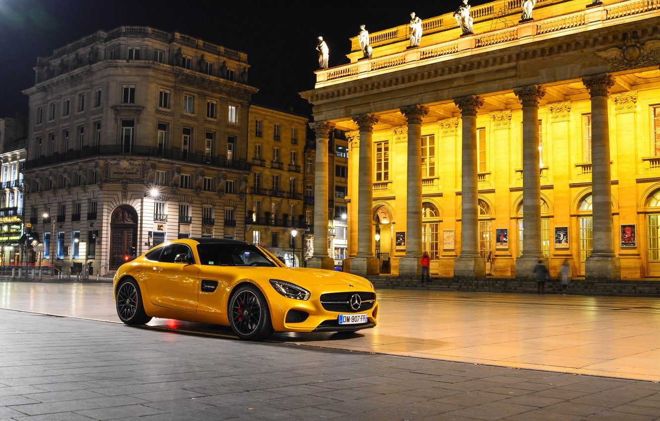 Photo wallpaper Mercedes-Benz, Front, AMG, Square, Night, Place, Yellow, Supercar, 2015, GT S