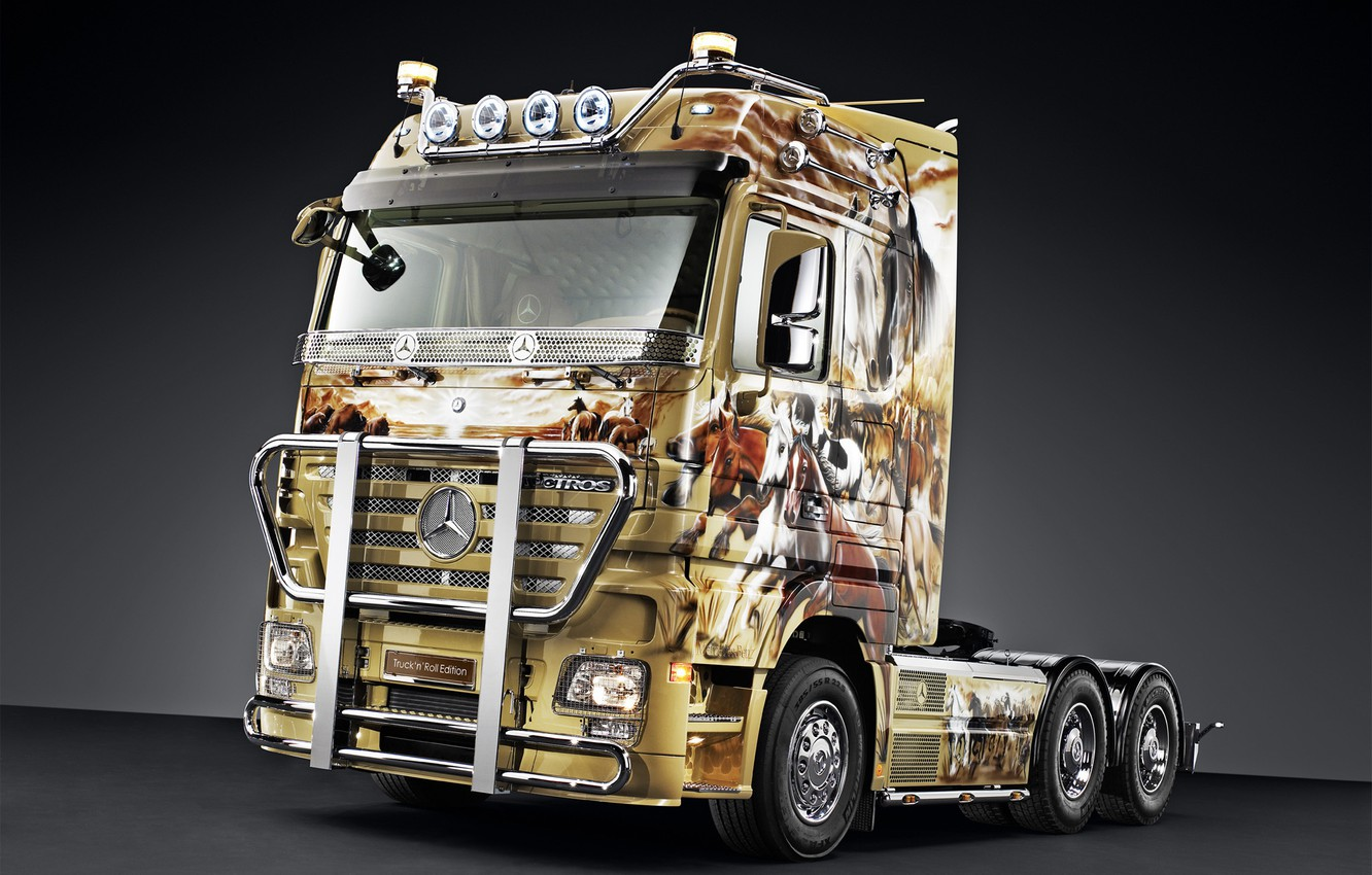 Photo wallpaper Mercedes, truck, mercedes-benz, 2660 ls, aktros, actros, truck n roll edition
