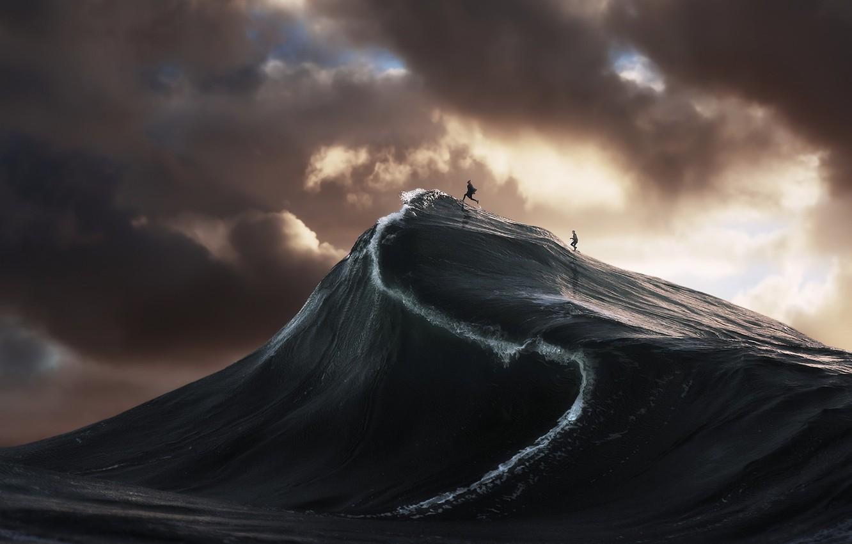 Photo wallpaper sea, people, wave